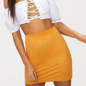 NWT Mustard Suede Skirt